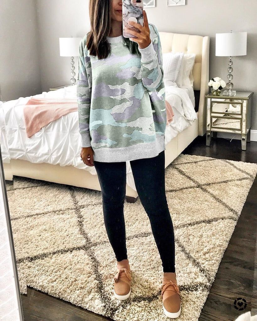 Loose Printed Long Sleeve Sweater