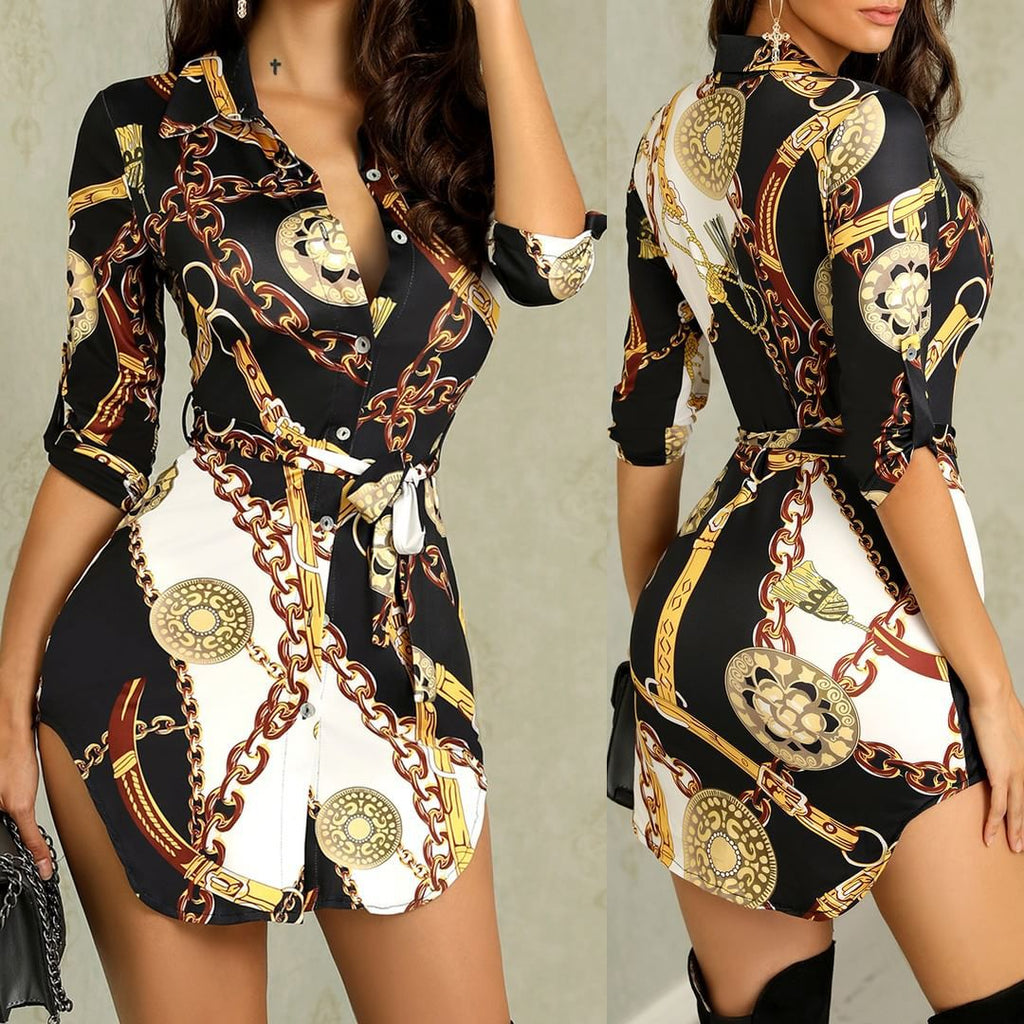 Fashion Sexy Gold Chain Print Dress