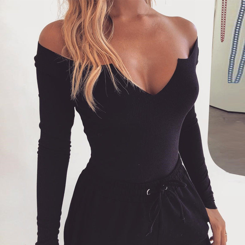Slim V-Neck Long Sleeve Jumpsuit