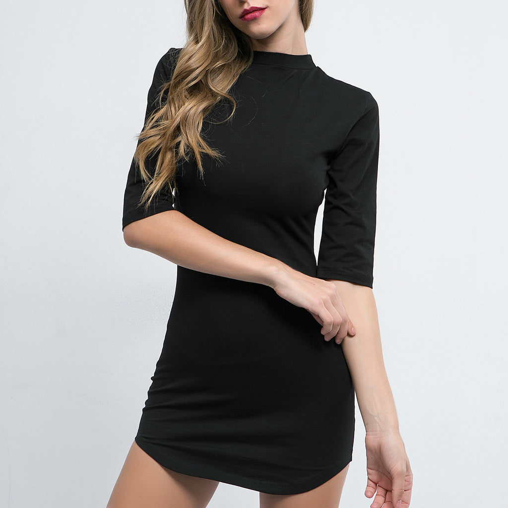 Solid Color Round Neck High Waist Package Hip Dress