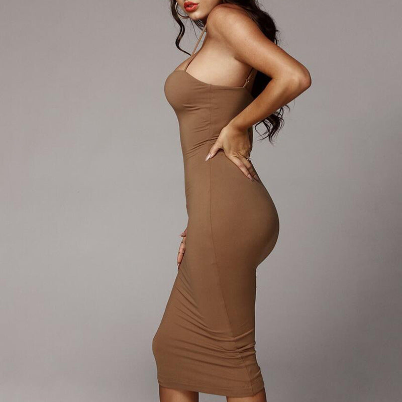 Sling V-Neck Backless Package Hip Dress