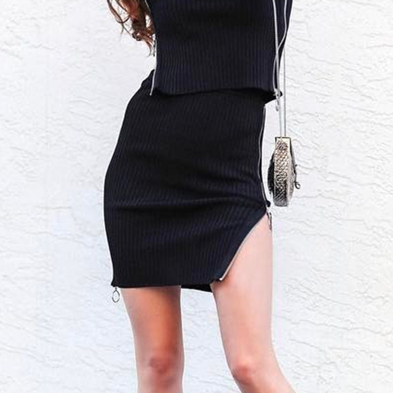 Sexy Split Zipper Bag Hip Knit Skirt