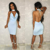 Solid Color High Waist Halter Dress
