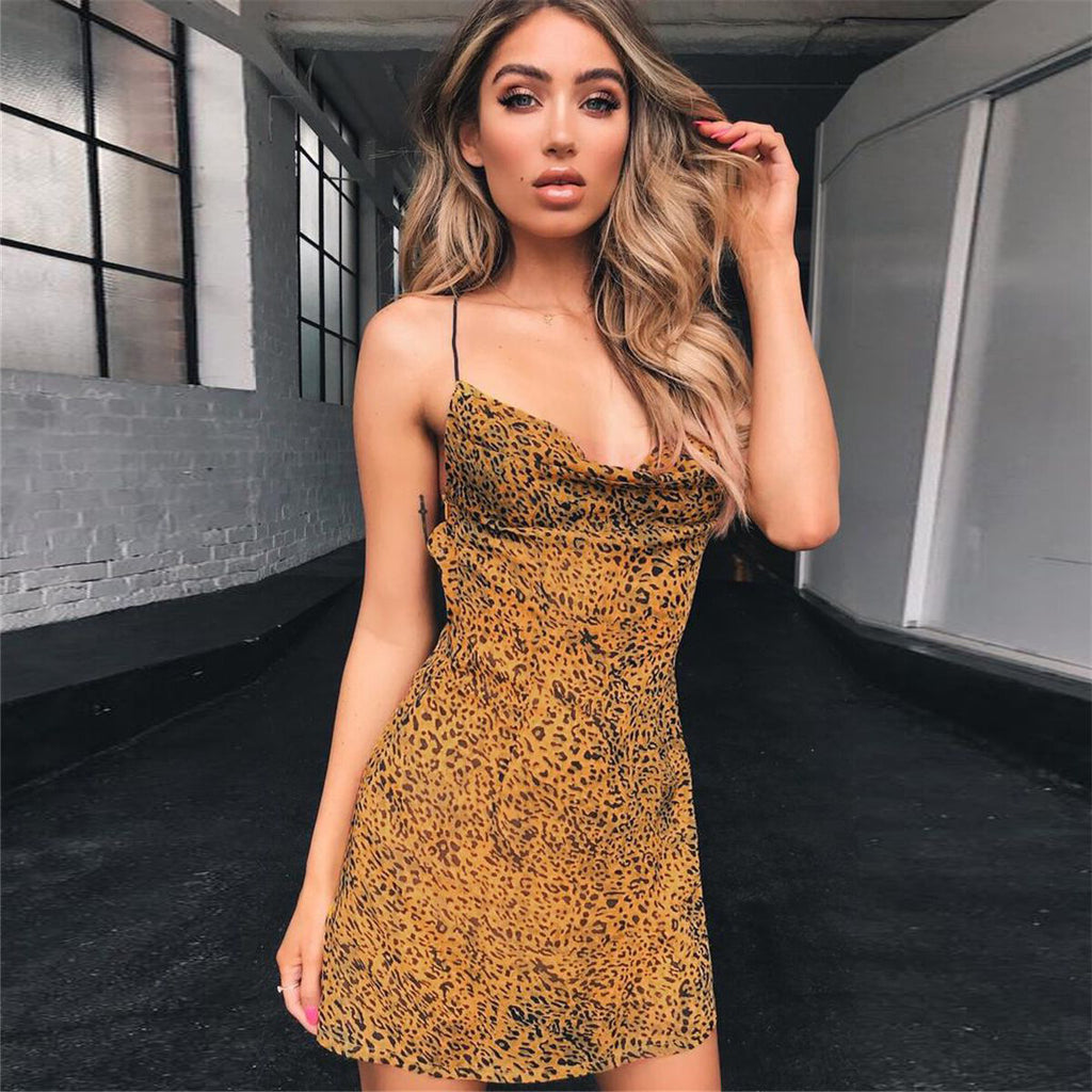 Fashion Leopard V-Neck Sling Open Back Dress