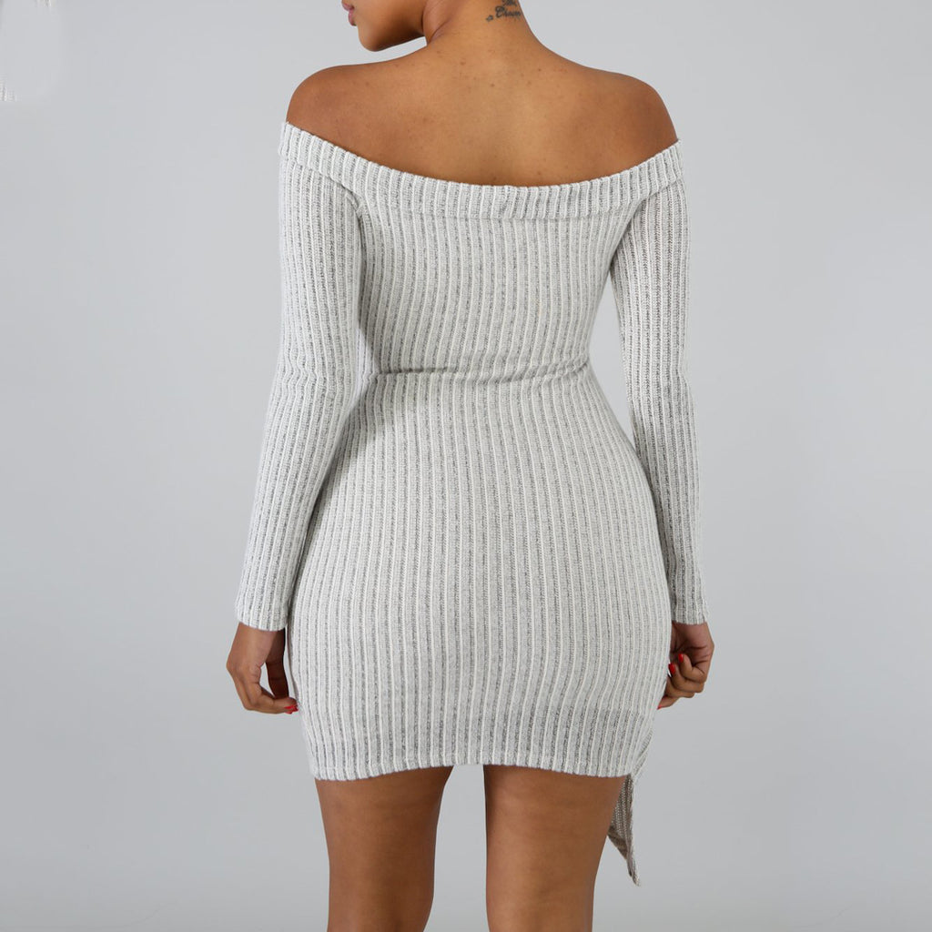 Sexy Strapless Long-Sleeved Package Hip Dress