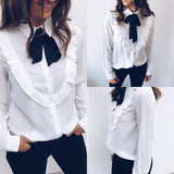 Sweet Chiffon Bow Long Sleeve Shirt