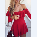 Fashion red long-sleeved dress