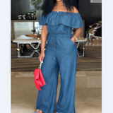 Sexy One-Shoulder Ruffled Plus Size Denim Jumpsuit