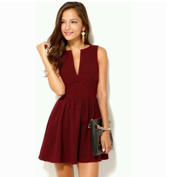 33050e9a2374 Sweet V-neck sleeveless Mini Dress – Shodg