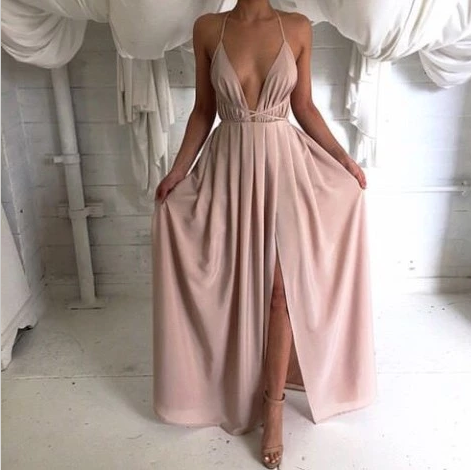 Solid Color Fashion Sexy Backless Long Sleeve Chiffon Princess Dress