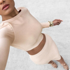 LONG-SLEEVED PACKAGE HIP TWO-PIECE DRESS