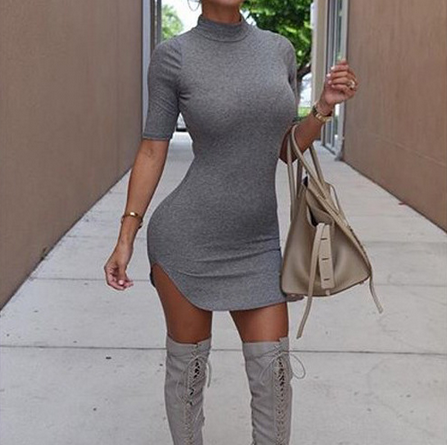 Sexy round neck short-sleeved dress