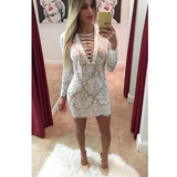 LONG SLEEVE V-NECK LACE PACKAGE HIP DRESS