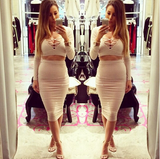 SLIM V-NECK LONG-SLEEVED TWO-PIECE DRESS