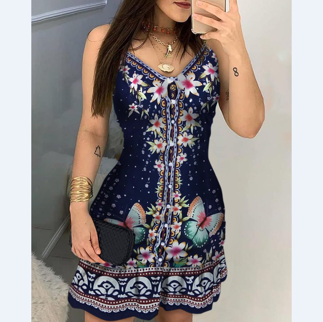V-Neck Butterfly Print Dress