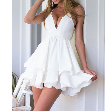 Design V Neck Belt Mini Dress