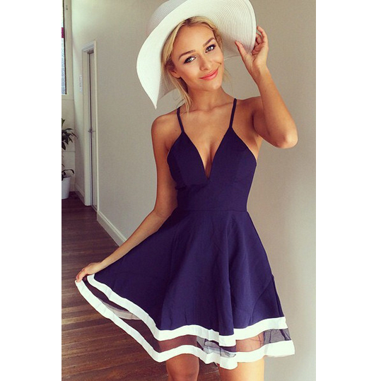 SEXY V NECK SLEEVELESS BLUE A LINE MINI DRESS