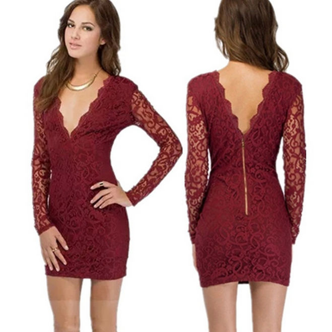 Slim V-Neck Lace Dress