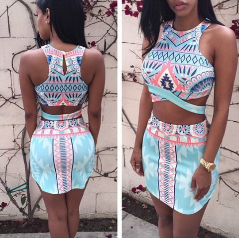 Sexy Print Sling Vest Chiffon Two-Piece Set