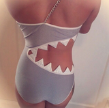 Sexy Shark Mouth Shaped One-Piece Bikini Swimwear