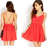 Sexy V-Neck Halter Chiffon Harness Dress