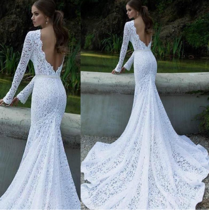 Sexy Long Sleeve Lace Halter Dress