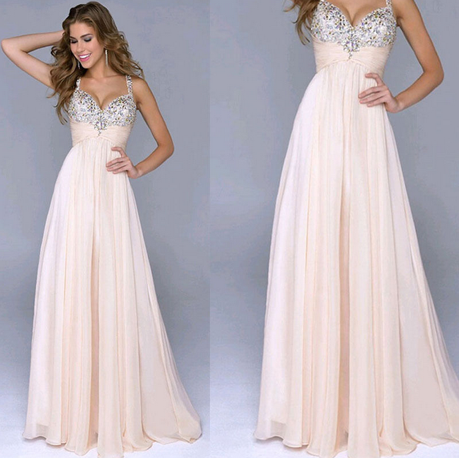 Sweet Chiffon Sequined V-Neck Sling Princess Dress