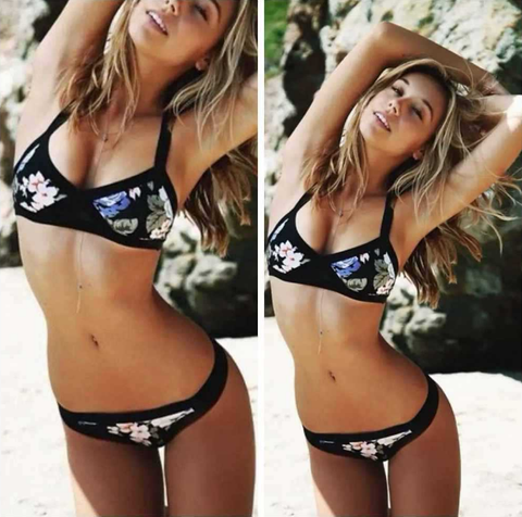 Sexy striped high waist bikini