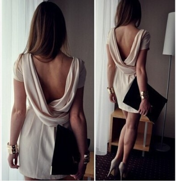 Design lace V-neck backless dress