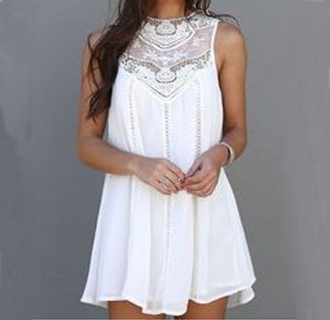 Solid color sleeveless V-neck lace dress