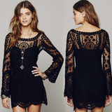 Fashion Embroidery Round Neck Long-Sleeved Dress