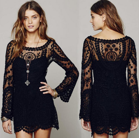 Design Diamond Black Long Sleeve Dress