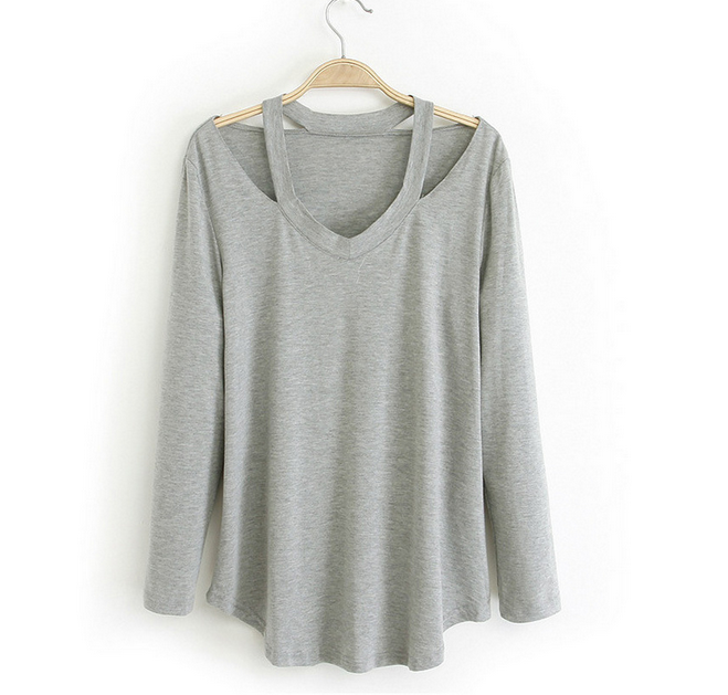 Casual long-sleeved V-neck T-shirt