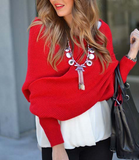 Loose Strapless long-sleeved sweater