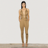 Slim V-neck jumpsuit