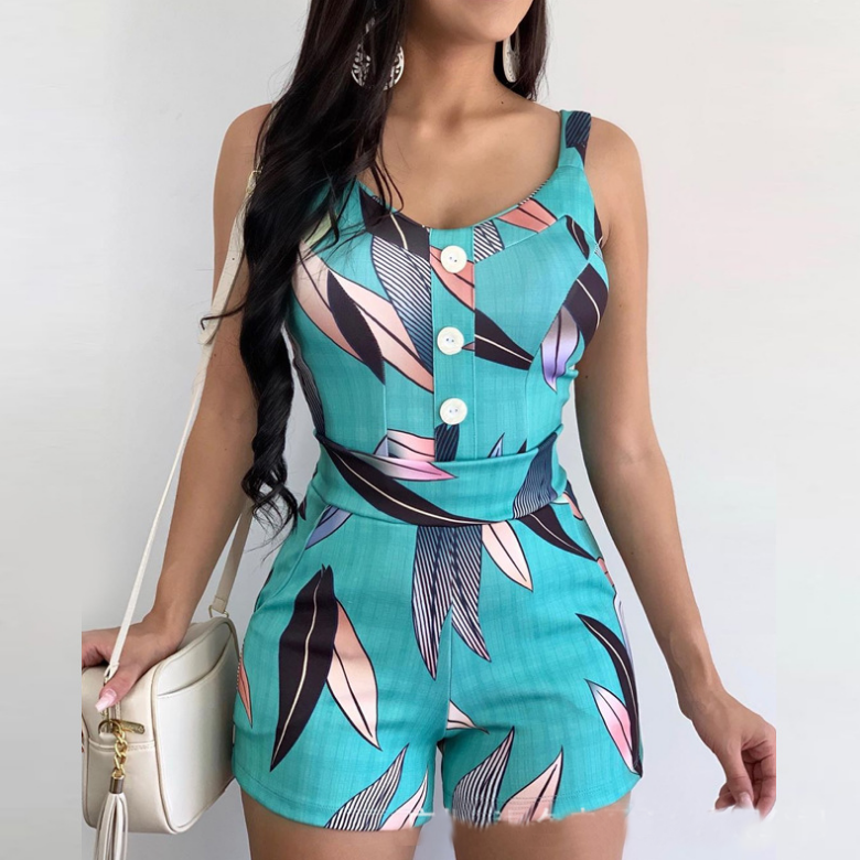 Casual Sling Sleeveless Blue Printed Jumpsuit