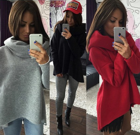 Fashionable high-necked long-sleeved sweater
