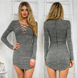 V-neck long-sleeved knit package hip dress