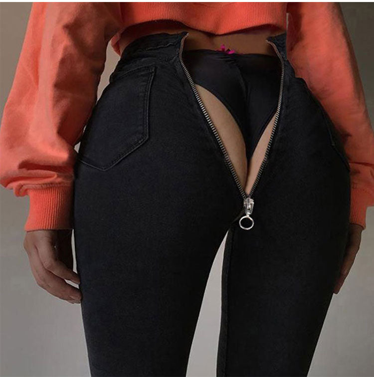 Slim sexy dark open zipper feet pants were thin denim trousers