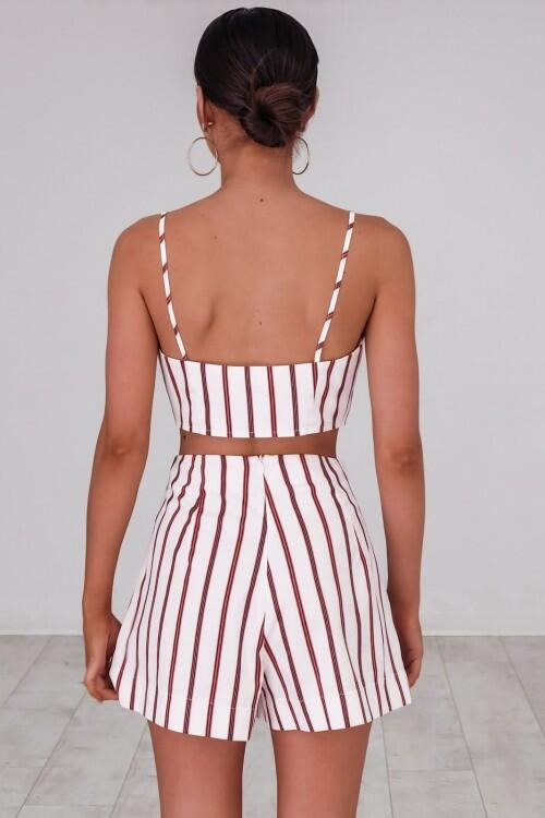 Women's Sleeveless Stripe Vest Two-Piece Set