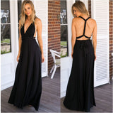Women Elegant Deep V-neck Maxi Party Dress