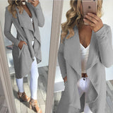 Womens Solid Color Jacket Long Irregular Coat