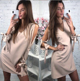 Solid Color Sexy V Neck Long Sleeve Dress