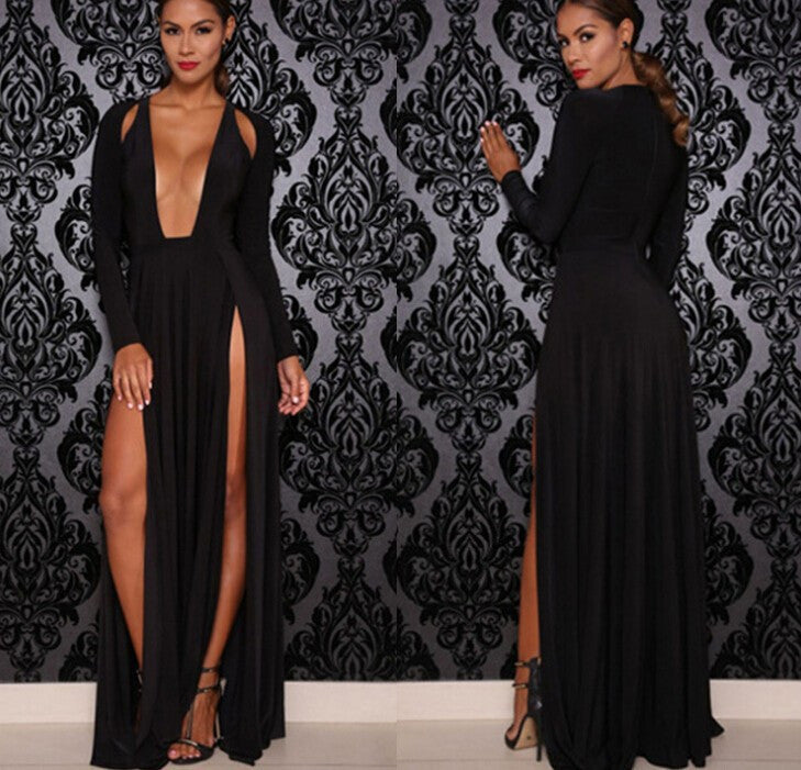 Sexy V-neck long-sleeved dress