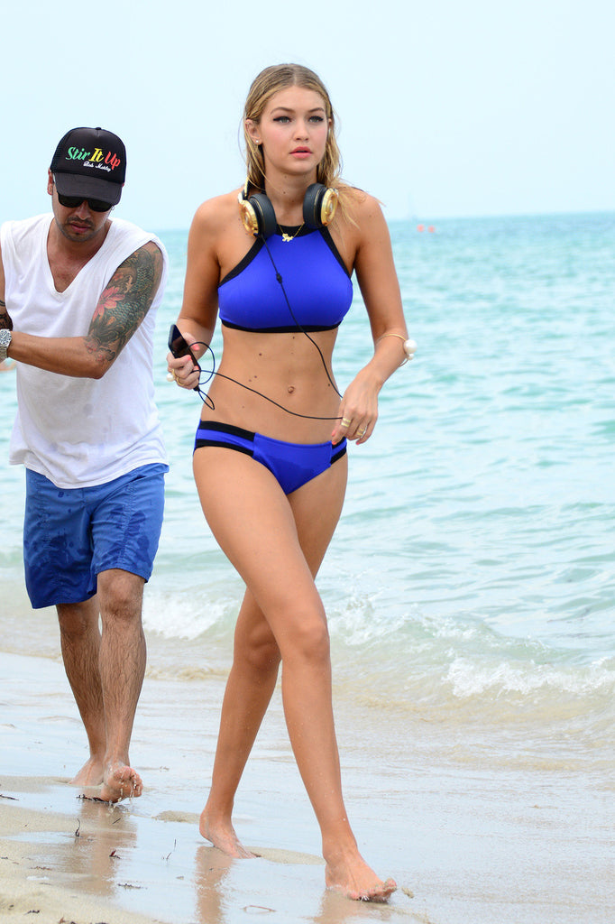 Fashion solid color blue bikini