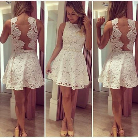 Solid color sexy white lace dress