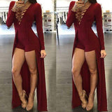 Fashion V-neck long-sleeved dress
