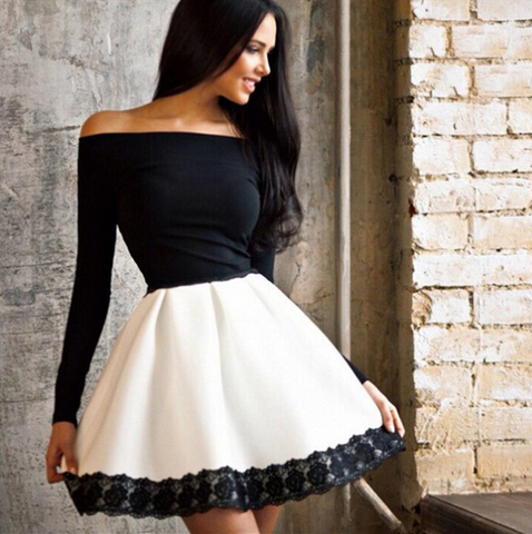 Fashion Sexy Long Sleeve Ruffled Dress
