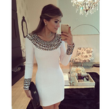Slim white beaded long-sleeved dress