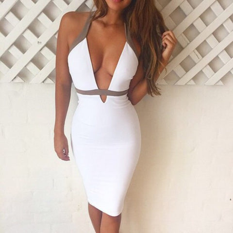 Women's Sexy Solid Color Halter Sling Dress